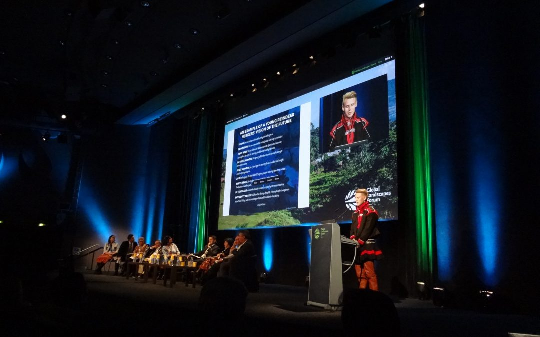 Sámi Youth addresses large crowd at Global Landscapes Forum